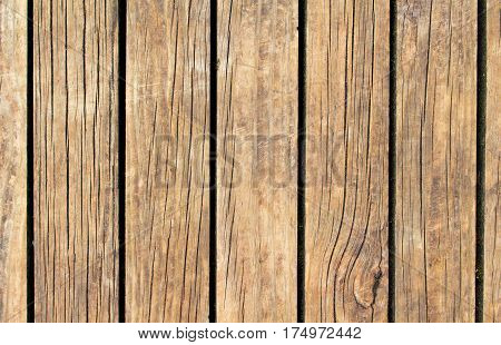 Vintage wood texture with vertical lines. Warm brown wooden background for natural banner. Timber texture closeup. Vertical wooden planks of floor backdrop photo. Natural material for banner template