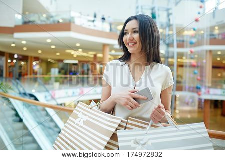 Pretty shopper with gadget and paperbags