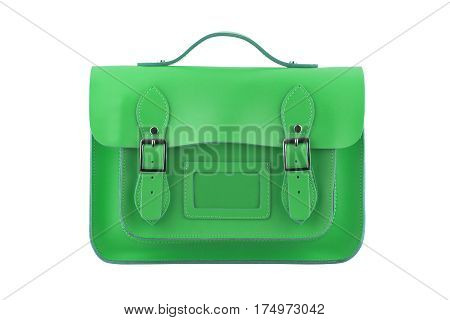 Green Satchel isolated on a white background