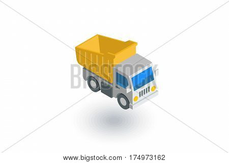 dump truck isometric flat icon. 3d vector colorful illustration. Pictogram isolated on white background