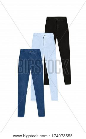 Three High Waist Skinny Jeans Pants, Isolated On White Background