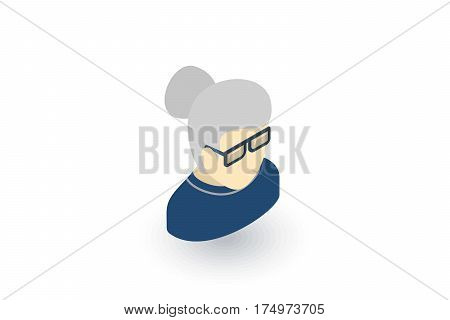 Granny Avatar, old woman isometric flat icon. 3d vector colorful illustration. Pictogram isolated on white background