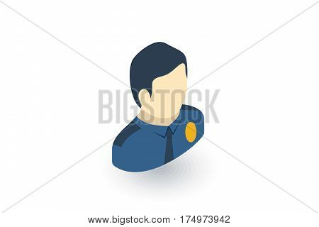 Avatar police officer isometric flat icon. 3d vector colorful illustration. Pictogram isolated on white background