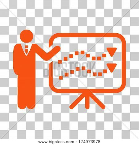 Trends Lecture icon. Vector illustration style is flat iconic symbol, orange color, transparent background. Designed for web and software interfaces.