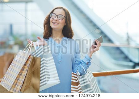 Carefree shopper spending leisure in the mall