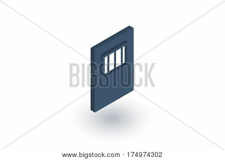 jail gate door isometric flat icon. 3d vector colorful illustration. Pictogram isolated on white background