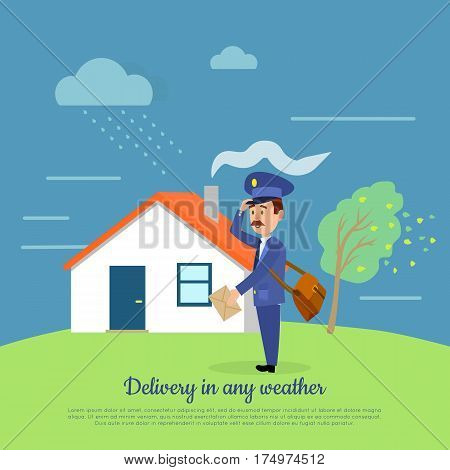 Delivery in any weather. Postman delivers your letters at any weather conditions. Mailman with package near house in rainy day. Express messenger in storm and disaster vector illustration in cartoon