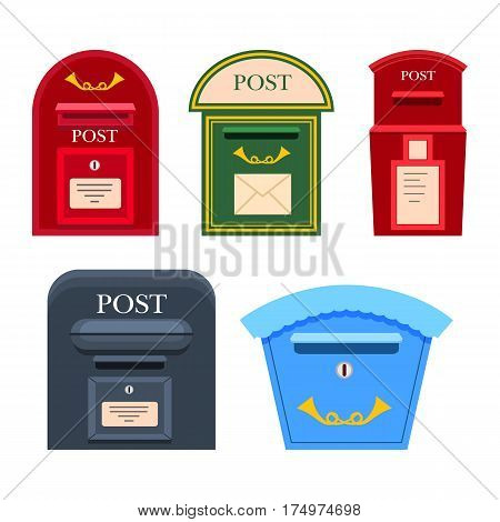 Post mailbox vector colourful collection on white. Red, green, grey and blue postboxes with inscriptions, signs and holes for letters. Set of five safe cases for writings keeping in flat style