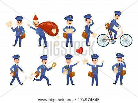 Postman characters with love, ordinary letter and parcels, brown and red bags, post male person on bicycle, speaking over cell phone and hurrying. Vector poster of mailman delivery job on white