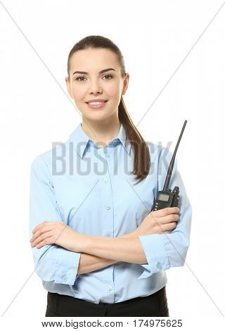 Beautiful security guard on white background