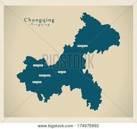 Modern Map - Chongqing Cn Region Illustration Silhouette