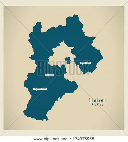 Modern Map - Hebei Cn Region Illustration Silhouette