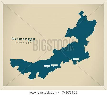 Modern Map - Neimenggu Cn Region Illustration Silhouette