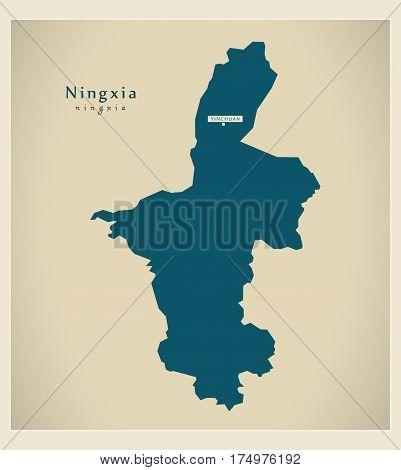 Modern Map - Ningxia Cn Region Illustration Silhouette