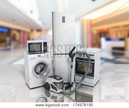 Home Appliances Group Of White Refrigerator Washing Machine Stove Microwave Oven Vacuum Cleaner 3D R
