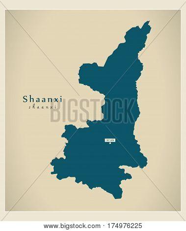 Modern Map - Shaanxi Cn Region Illustration Silhouette