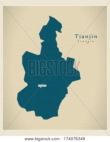 Modern Map - Tianjin Cn Region Illustration Silhouette