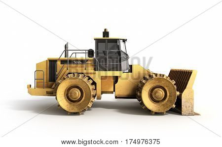 Yellow Bulldozer 3D Render Isolated On White