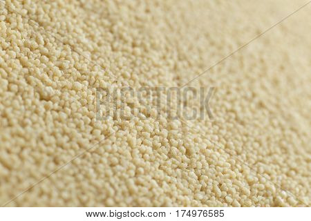 Couscous Closeup. Bulgur. Uncooked, Natural, Diet, Raw For Traditional Middle East And Mediterranean