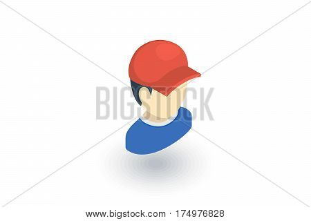 little boy in red cap isometric flat icon. 3d vector colorful illustration. Pictogram isolated on white background