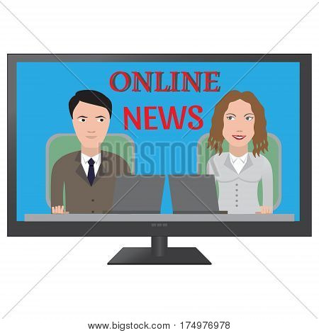 TV latest news. Two reporters are the news media vector illustration