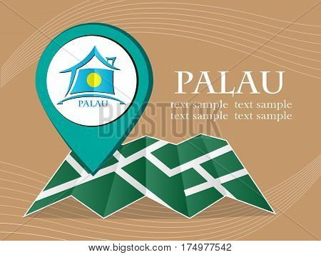 map with pointer flag Palau vector illustration eps 10.