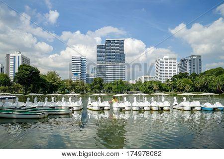 Lake view of Lumpini Park in Bangkok city lifestyle concept