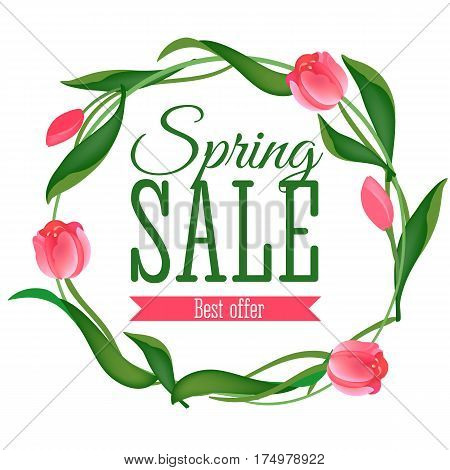 Spring Sale card with pink tulips on white background. Can be used for print banners, bags, posters, cards, stationery and for web banners, advertisement . Vector illustration
