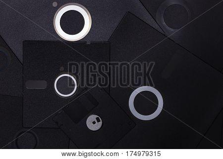 A lot of black floppy disks for saving information