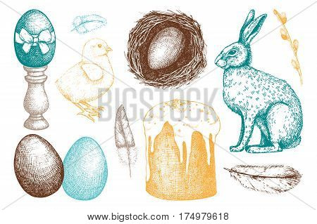 Vector collection of cute retro illsutrations for easter design.