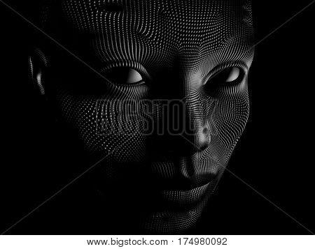 artificial face, 3d illustration