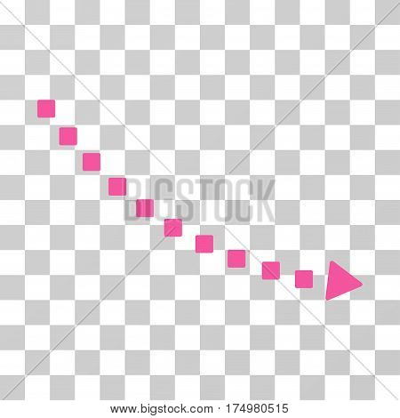 Dotted Decline Trend icon. Vector illustration style is flat iconic symbol, pink color, transparent background. Designed for web and software interfaces.