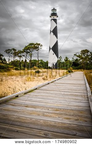 A wooden walkway to the Cape Lookout lighthouse