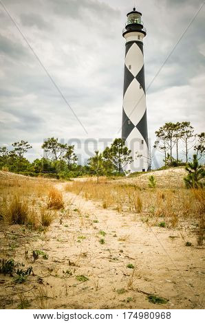 A sandy pathway to the Cape Lookout lighthouse