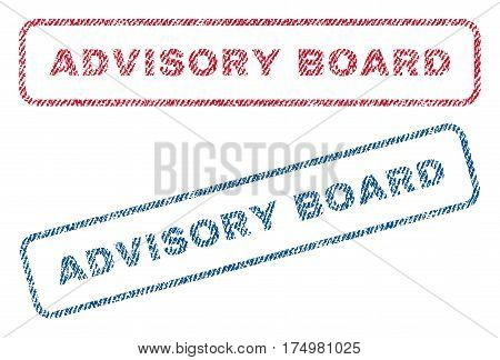 Advisory Board text textile seal stamp watermarks. Blue red fabric vectorized texture. Vector caption inside rounded rectangular banner. Rubber emblem with fiber textile structure.
