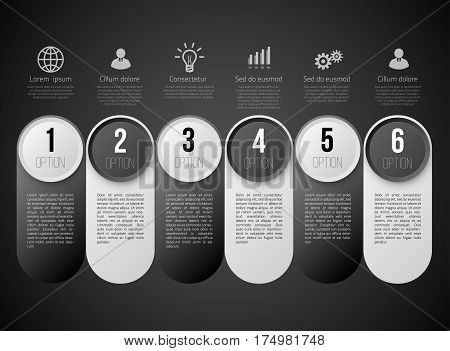 Infographics with 6 steps milestone, colorful black and white bright design, vector template