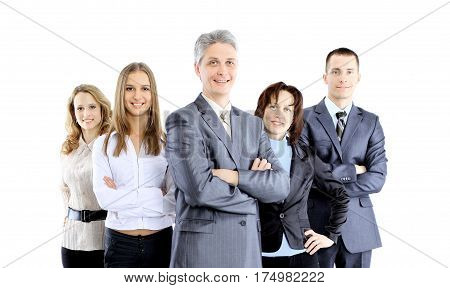 Group of business people standing behind each other on a white background