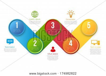 Infographics with 5 steps milestone, colorful bright design, vector template