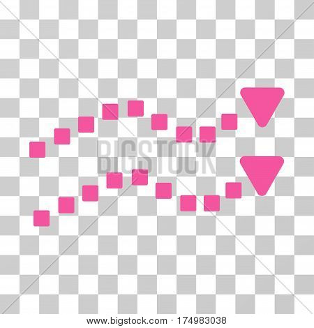 Dotted Trend Lines icon. Vector illustration style is flat iconic symbol, pink color, transparent background. Designed for web and software interfaces.