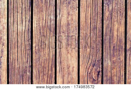 Rustic wood texture with vertical lines. Warm brown wooden background for natural banner. Timber texture closeup. Vertical wooden planks of floor backdrop photo. Natural material for banner template