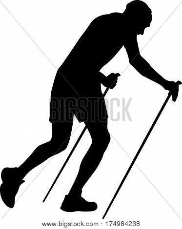 male runner with trekking poles running uphill black silhouette