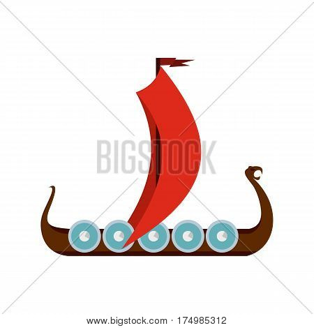 Medieval boat icon isolated on white background vector illustration