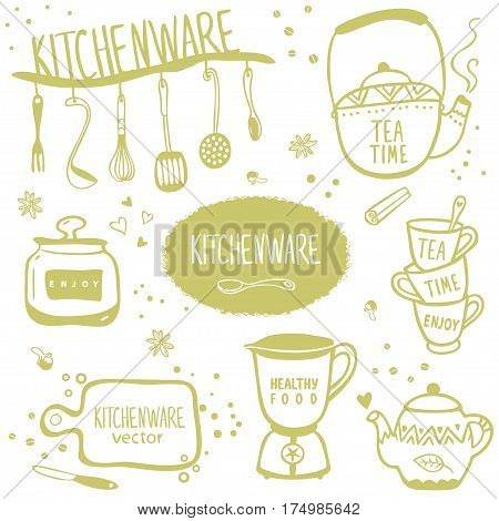 Design silhouette of kitchenware doodles collection. Vector illustration
