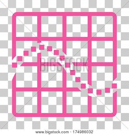 Function Chart icon. Vector illustration style is flat iconic symbol, pink color, transparent background. Designed for web and software interfaces.