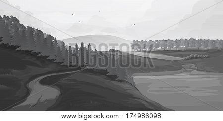 Retro rural landscapes. Set in rural landscapes painted black lines. vector illustration for you project