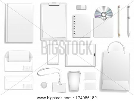 Vector corporate mock up. Set items with the tablet cover business card bag envelope pencil and pen.