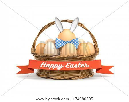 Chicken eggs in rattan basket - one of egg is a rabbit. 3d illustration