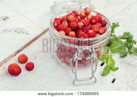 Wild strawberry in glass jar with green mint leaves on white rustic wooden background. Sweet berry Fragaria for summer dessert. Healthy snack. Selective focus.