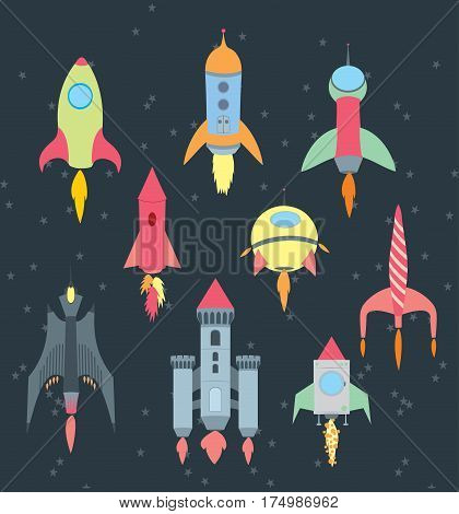 Rocket cartoon set on black background - flat vector illustration