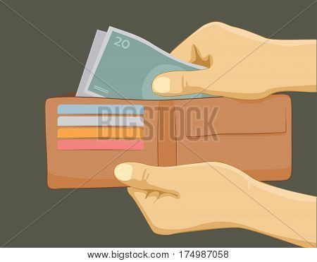 Hand with money and wallet - paying with cash concept